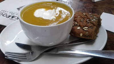 Delicious butternut soup from Karoo Grill & Bar Restaurant at Irene Village Mall. Photo by Phindiwe Nkosi.