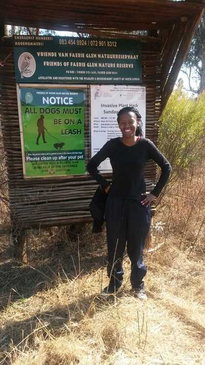 Phindiwe Nkosi at Friends of Faerie Glen Nature Reserve in Pretoria East. Photo by S N-B.
