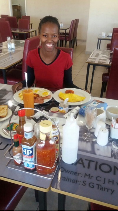 Phindiwe Nkosi at Randjesfontein Breakfast Clubhouse (Restaurant) in Midrand. Photo by S NB