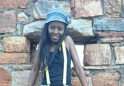 Phindiwe Nkosi at the fort on top of the hill at Wonderboom Nature Reserve